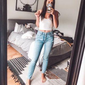 Light wash Karolina GRLFRND high waisted jeans